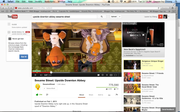 Downton Abbey on Youtube with Beck's Beer Commercial, Inappropriate marketing to kids