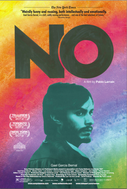 NO movie poster starring Gael Garcia Bernal, no the movie, best foreign films, best foreign films 2012, best foreign films 2013, best foreign language films 2013, chilean film, chilean film no, Director Pablo Larrain