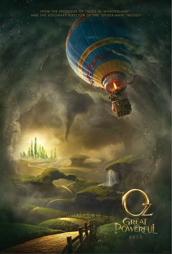 OZ THE GREAT AND POWERFUL movie poster, Oz the great and powerful hot air ballon, oz the great and powerful tornado