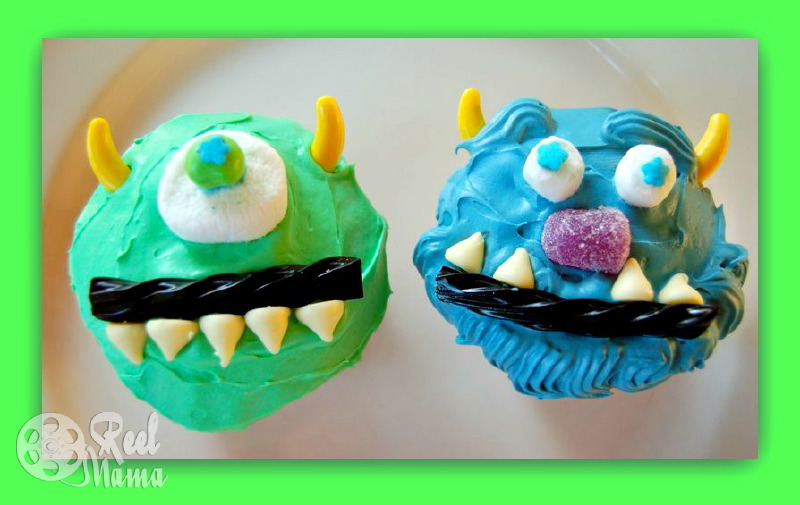 Mike and Sulley cupcakes ~ Monsters University birthday ideas