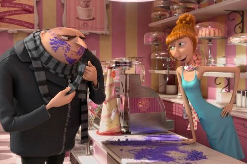 Despicable Me 2 Kristen Wiig as Lucy, Despicable Me 2 Gru and Lucy, Despicable Me 2 Steve Carrel, Despicable Me 2 cupcake shop