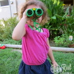 On the lookout for insects in the backyard with Backyard Safari Outfitters Field Binoculars.
