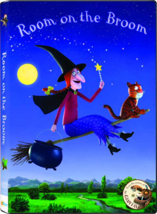 Room on the Broom DVD cover art: The animated family film is adapted from Julia Donaldson's Room on the Broom best selling children's book