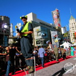 Stilts juggler in front of Dolby Theater complex