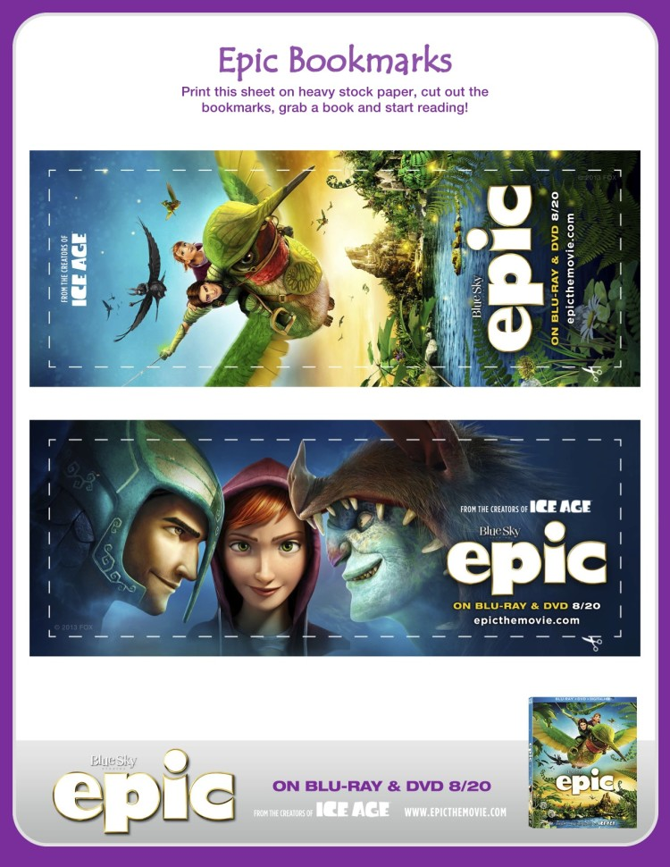 Epic bookmark activity sheets