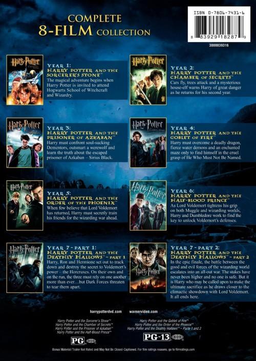 Harry Potter 8 film DVD collection movie descriptions