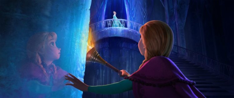 Princess Anna and Princess Elsa in the ice palace in Disney Frozen