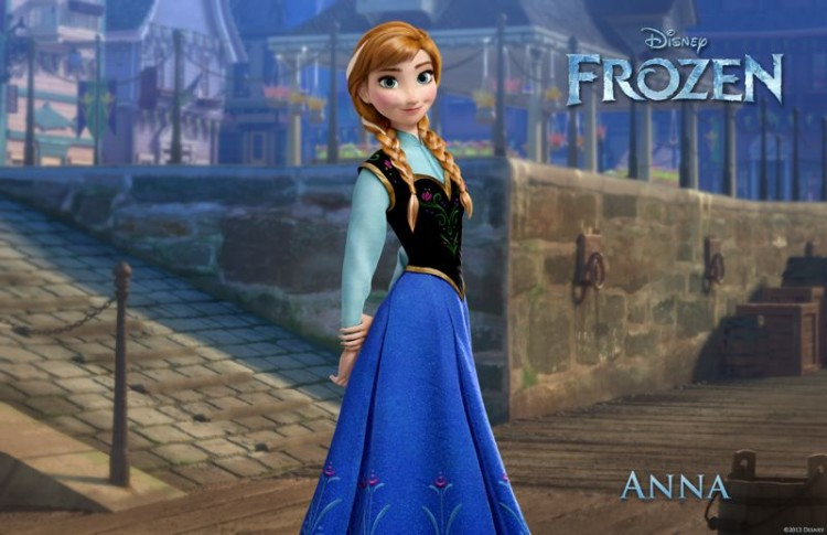 Princess Anna (the voice of Kristen Bell) in Disney Frozen. As far as Frozen baby names go, Anna hasn't increased much in popularity because it was already a very popular name.