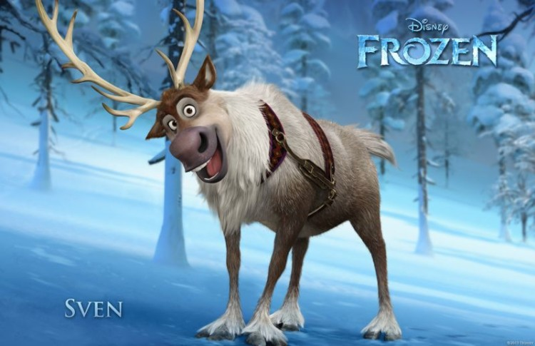 Sven the reindeer from Disney Frozen. Sven is the most popular of the  Frozen baby names.