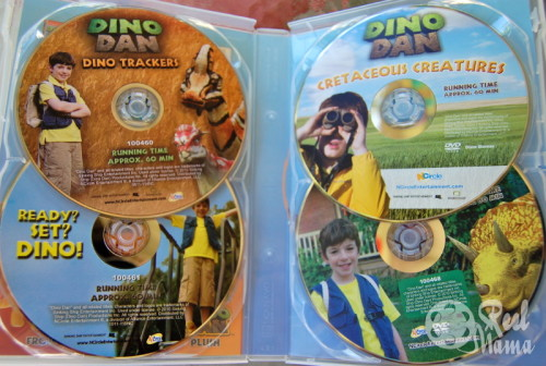 Dino Dan 4 Pack DVDs of the Nick Junior TV show for young children.  The show encourages young children to use their imaginations in a scientific learning adventure.