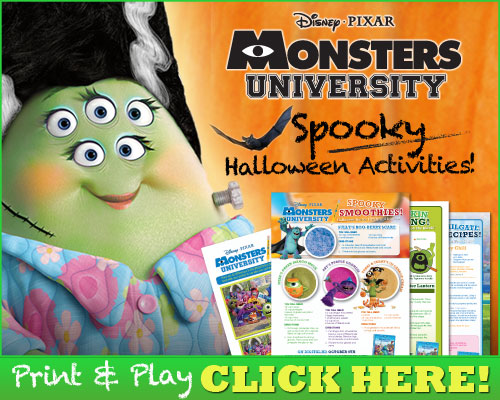 Monsters University activities and recipes for Halloween!