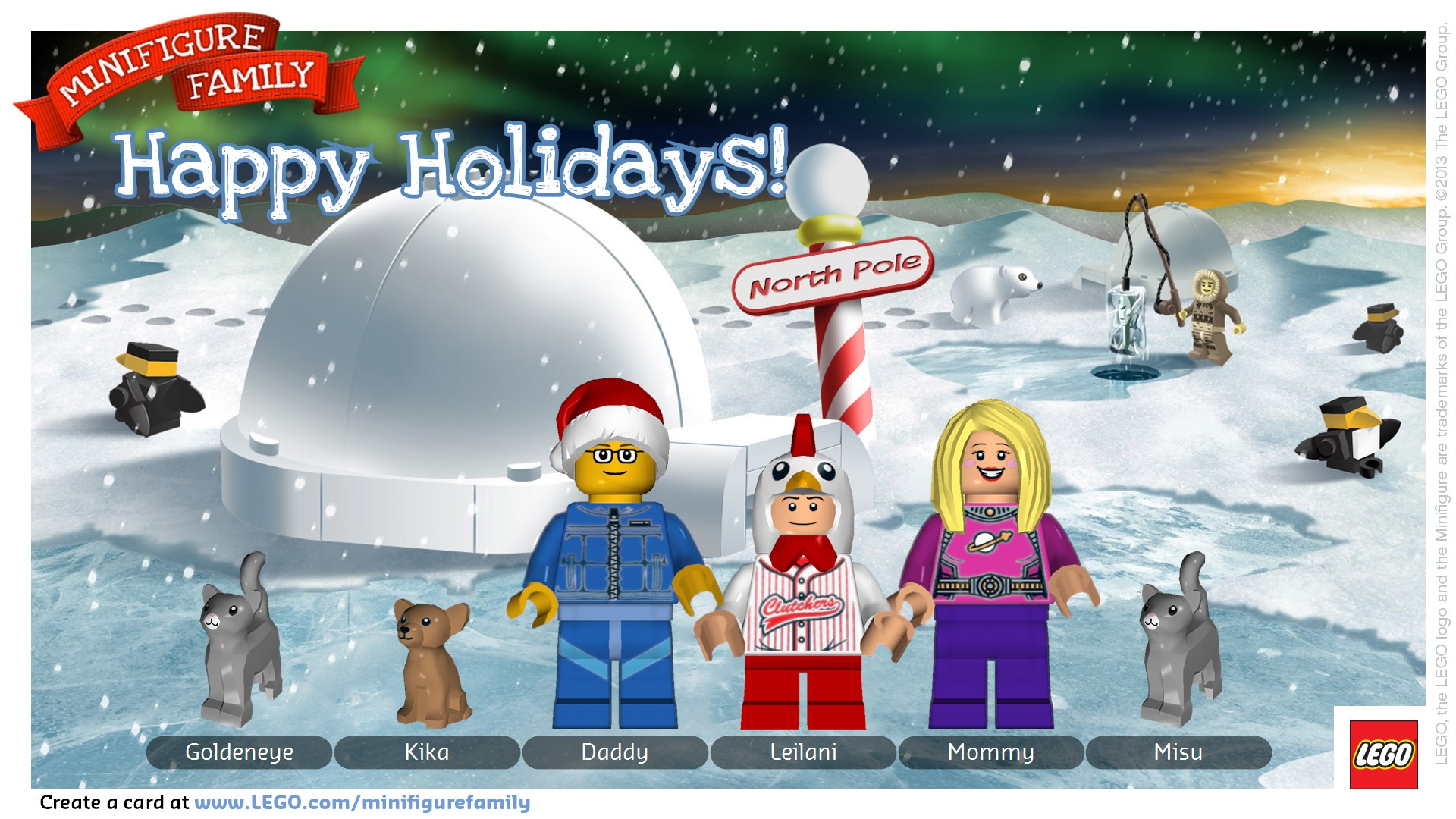 Kids can create cute holiday cards with LEGO Minifigure Family