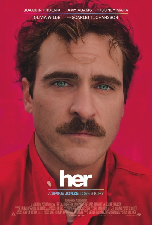 Her movie poster with Joaquin Phoenix as Theodore Twombly
