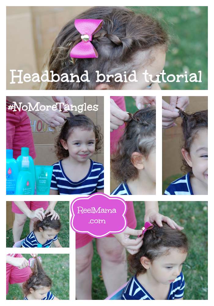Headband braid tutorial collage with Johnson's No More Tangles