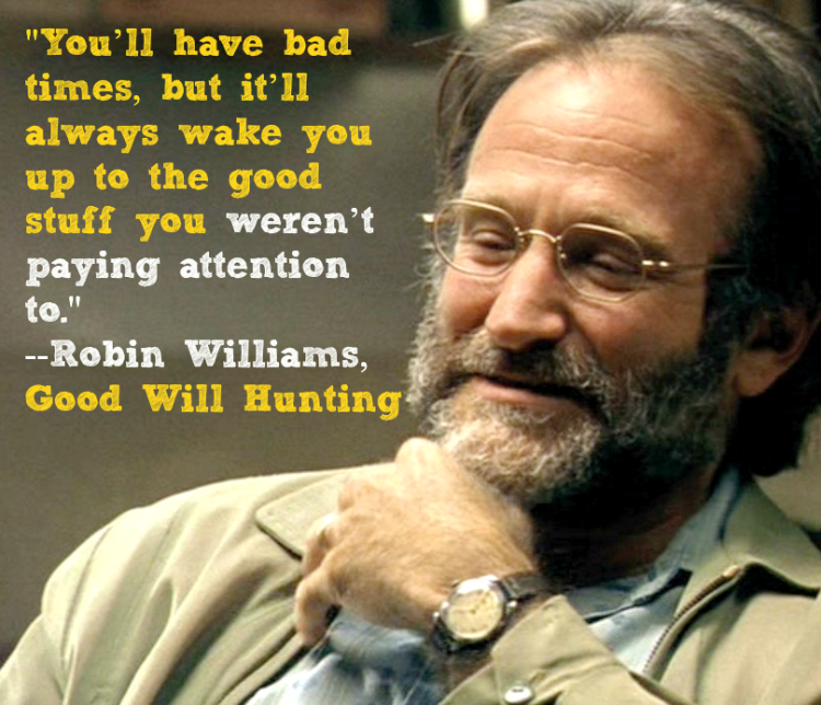 """Robin Williams Good Will Hunting Movie Quote: """"You have bad days, but it'll always wake you up to the good stuff you weren't paying attention to."""" #RobinWilliams"""
