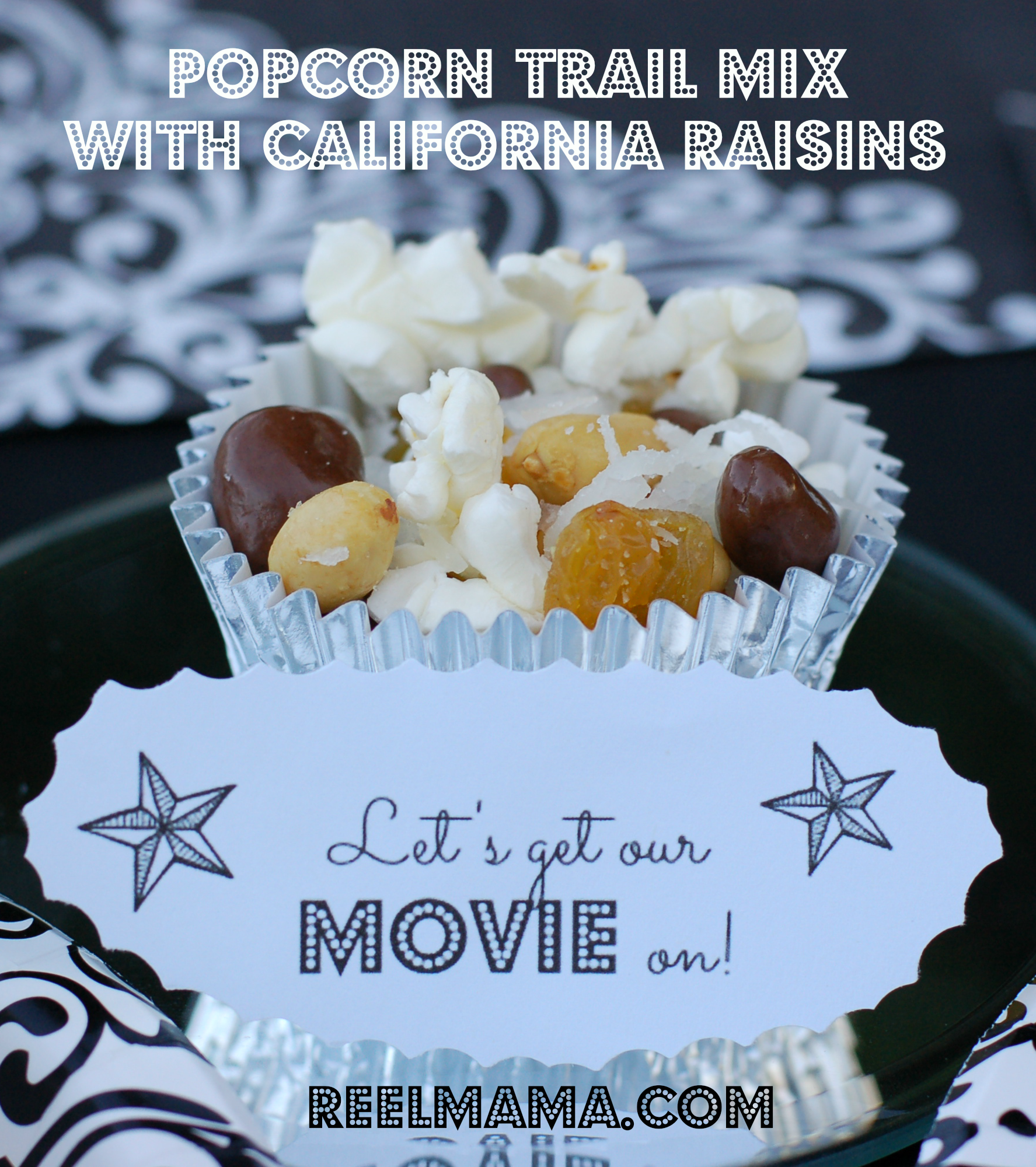 Popcorn trail mix with California raisins, the perfect family movie night snack!