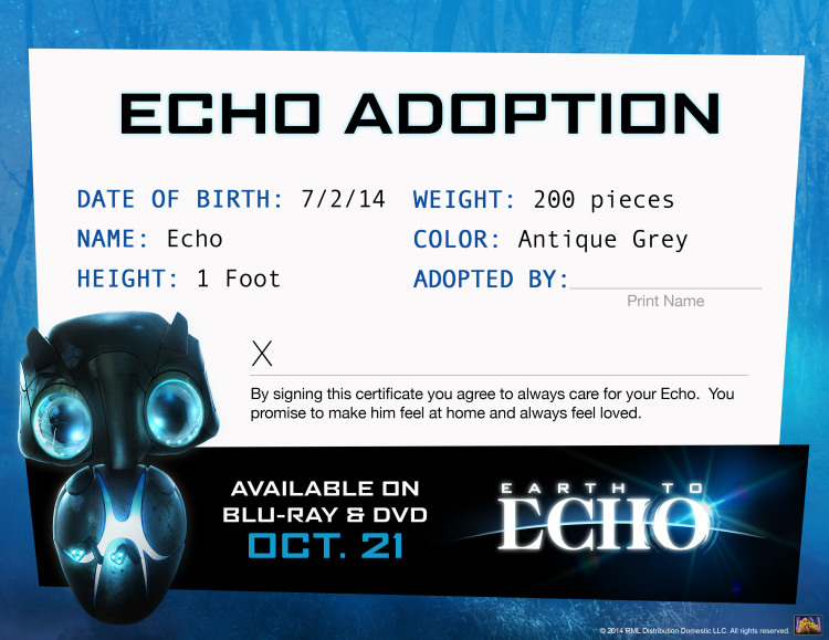 Earth to Echo Adoption Certificate