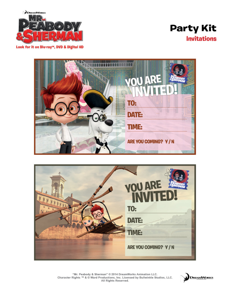 Mr Peabody party invitations