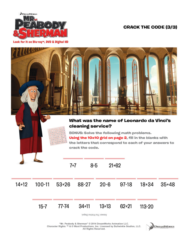 Mr Peabody party game: Italian Renaissance Crack the Code with Leonardo da Vinci