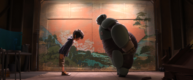 Big Hero 6 Hiro and Baymax bowing in friendship in BIG HERO 6.