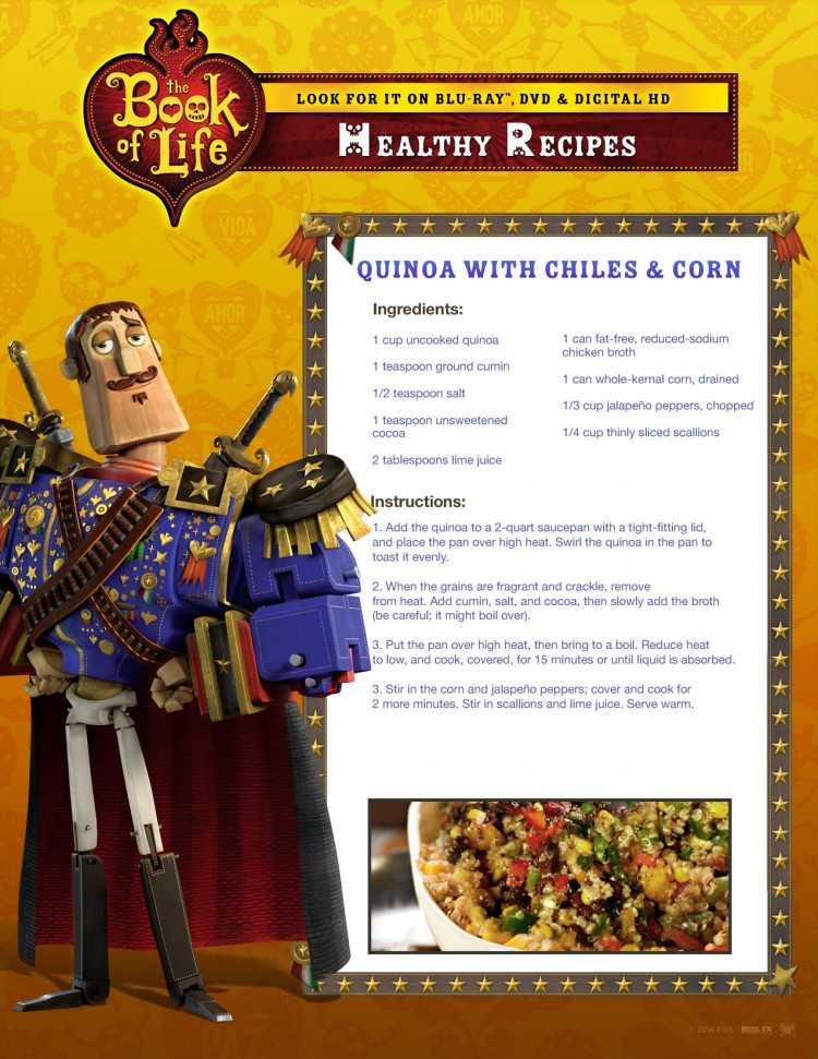Quinoa Chiles and Corn Book of Life Recipe