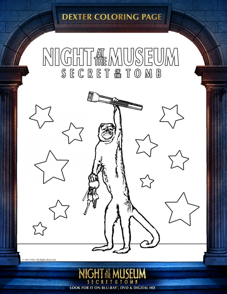 Night at the Museum 3 Dexter Coloring Sheet
