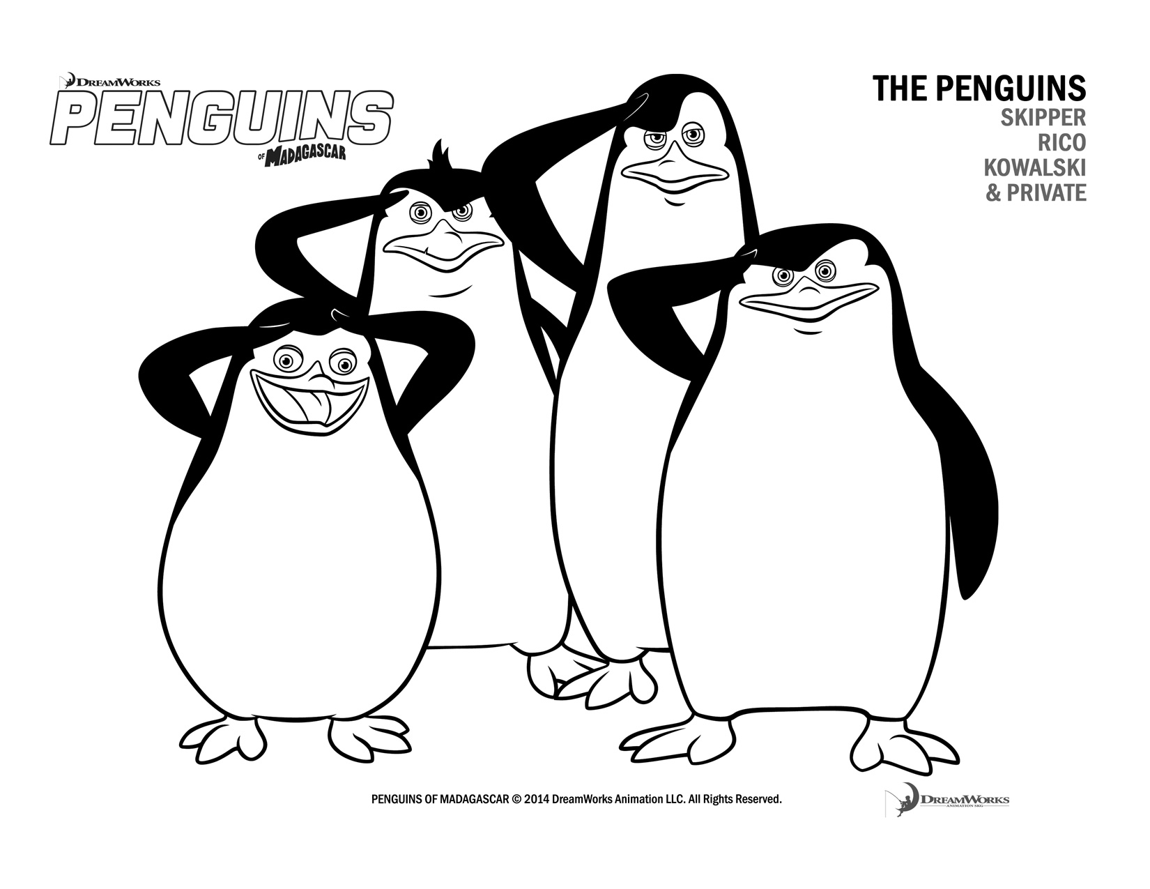 Penguins coloring page from Penguins of Madagascar