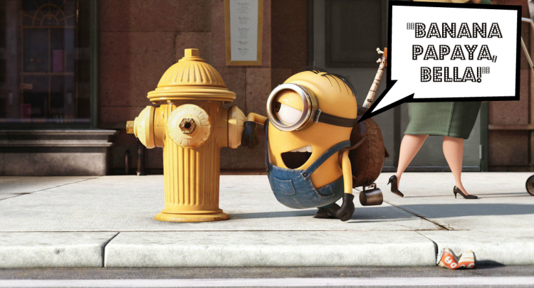 "Minions movie still quote: ""Banana papaya, Bella!"""