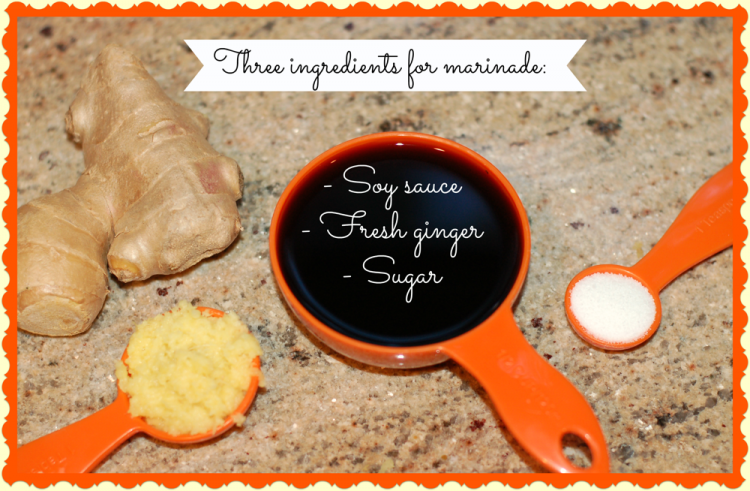 Three ingredients for marinade ~ soy ginger chicken recipe
