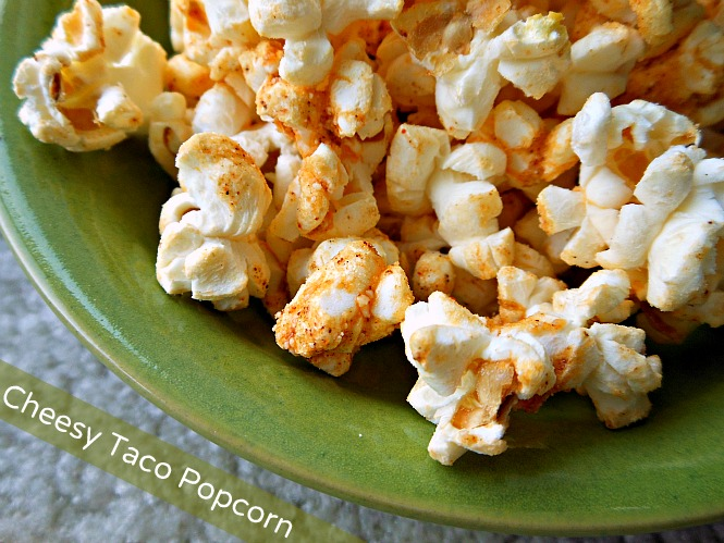 Cheesy taco popcorn recipe from Three Different Directions