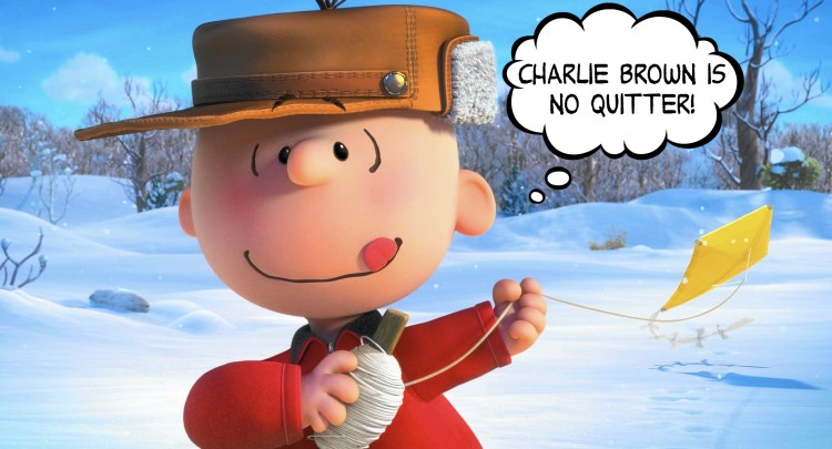 """Charlie Brown is no quitter!"" says Charlie Brown in the Peanuts movie."