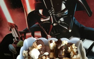Darth Vader's dark chocolate popcorn mix with Cinnamon Toast Crunch