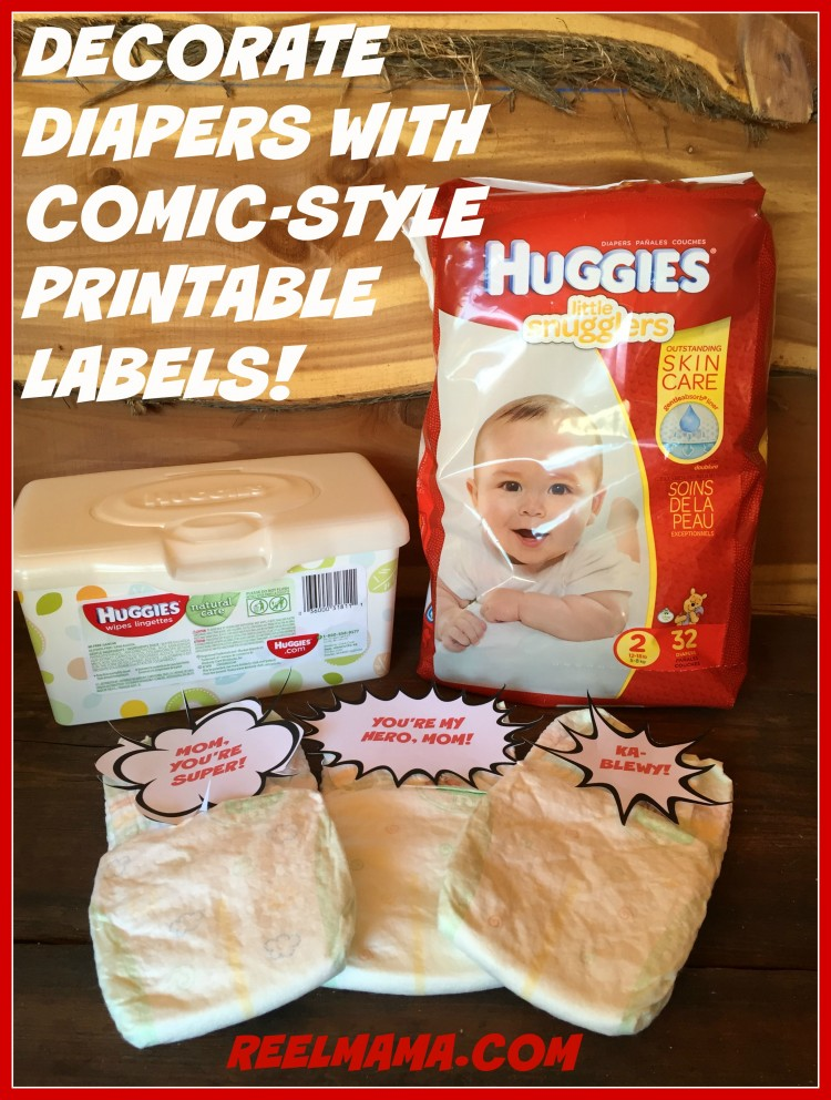 Decorate diapers with comic-style printable cutouts for your supermom gift basket for a new mom!