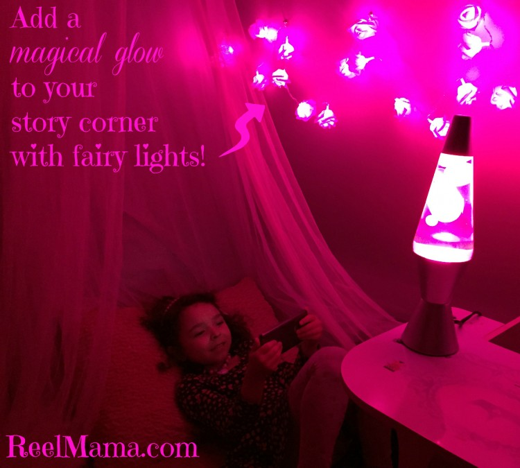 Fairy lights are a perfect addition to a DIY story corner for girls #DataandAMovie #CollectiveBias #ad