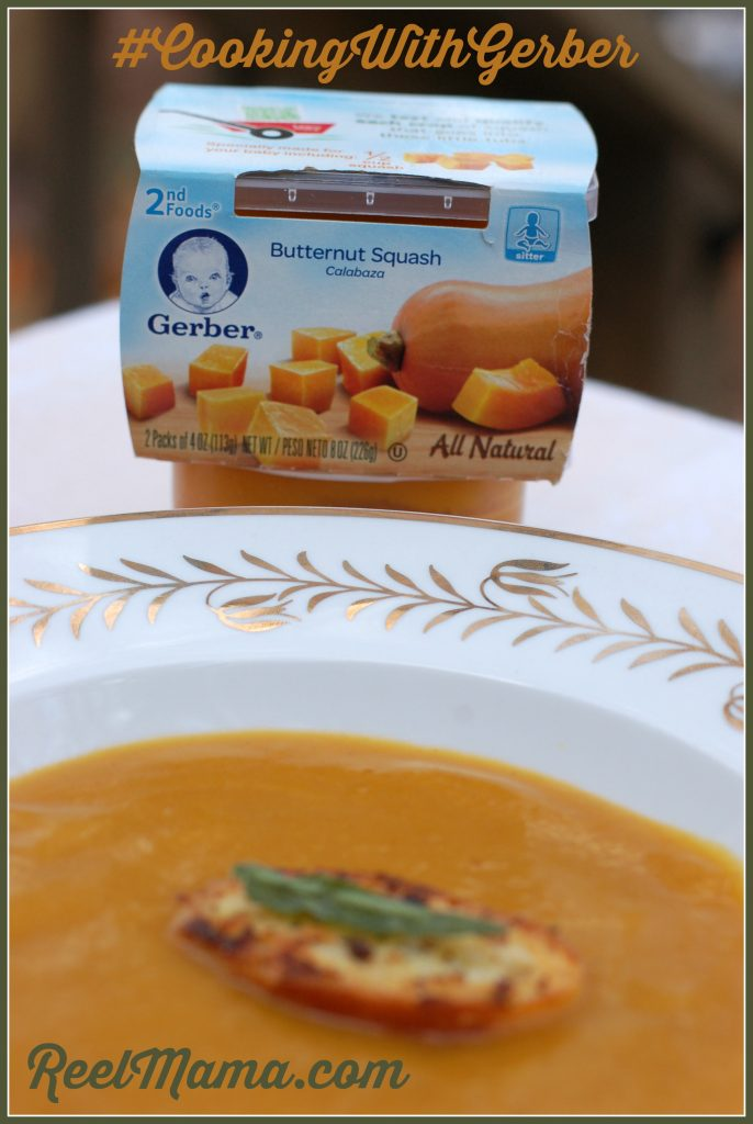 Gerber butternut squash baby food used to create butternut squash soup with sage crostini #CookingWithGerber