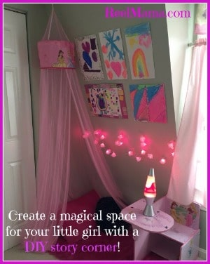 Retro DIY story corner for little girls with original artwork, lava lamp, and shag throw rug! #DataandAMovie #CollectiveBias #ad