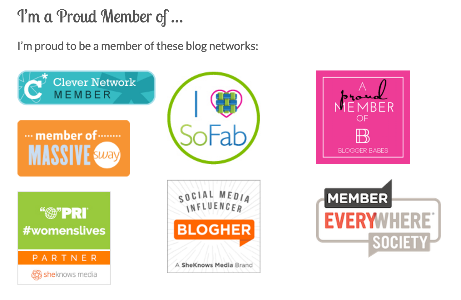I'm proud to be a member of these fine blogging networks!