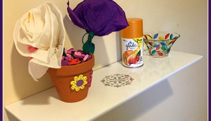 Stenciled DIY display shelf
