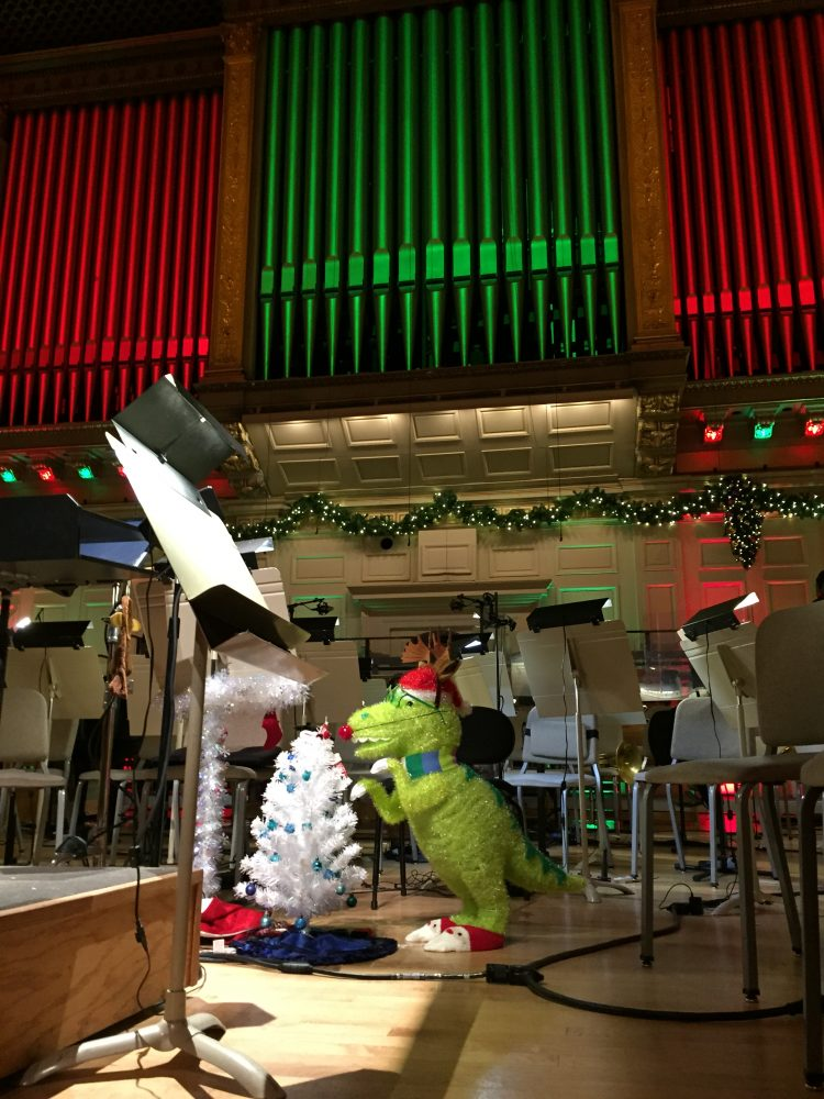 Christmas dinosaur pinata at Symphony Hall at the Holiday Pops Kids Matinee ~ Boston Pops