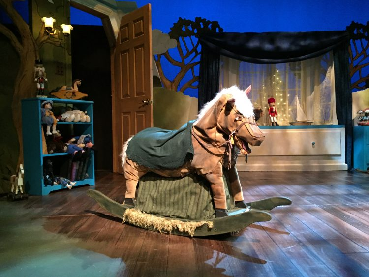 The Skin Horse puppet by Marjorie Tudor of the Tasha Tudor family in the Velveteen Rabbit at the Boston Children's theater