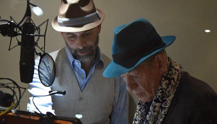Animator Scott Christian Sava, director of Animal Crackers, with actor Ian McKellen, the voice of Horatio P. Huntington