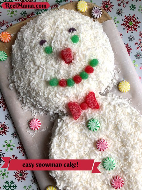 Easy snowman cake for winter fun! Make one for your snowman movie night.