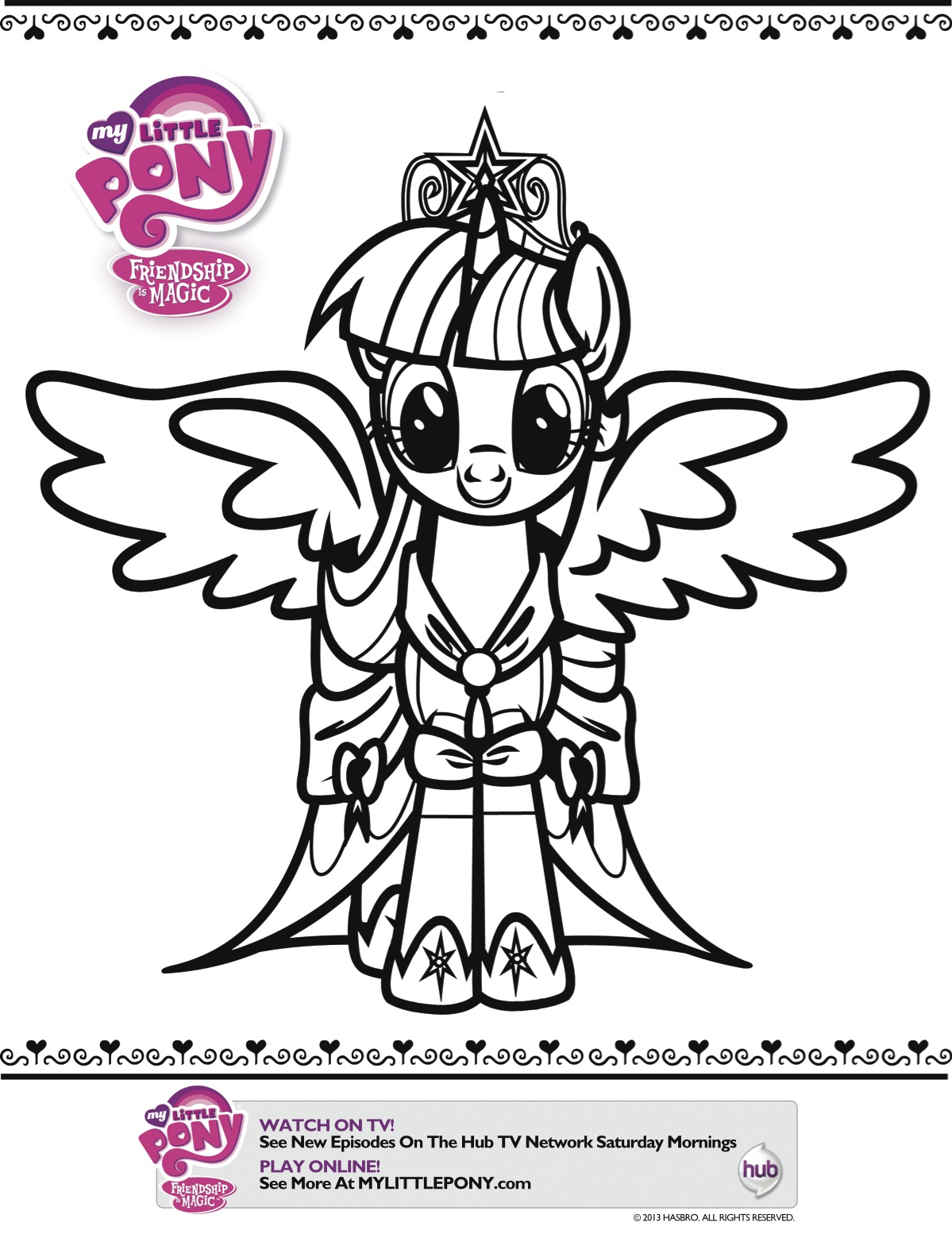 Coloring Pages Of Princess Twilight Sparkle : Twilight sparkle coloring sheet reelmama