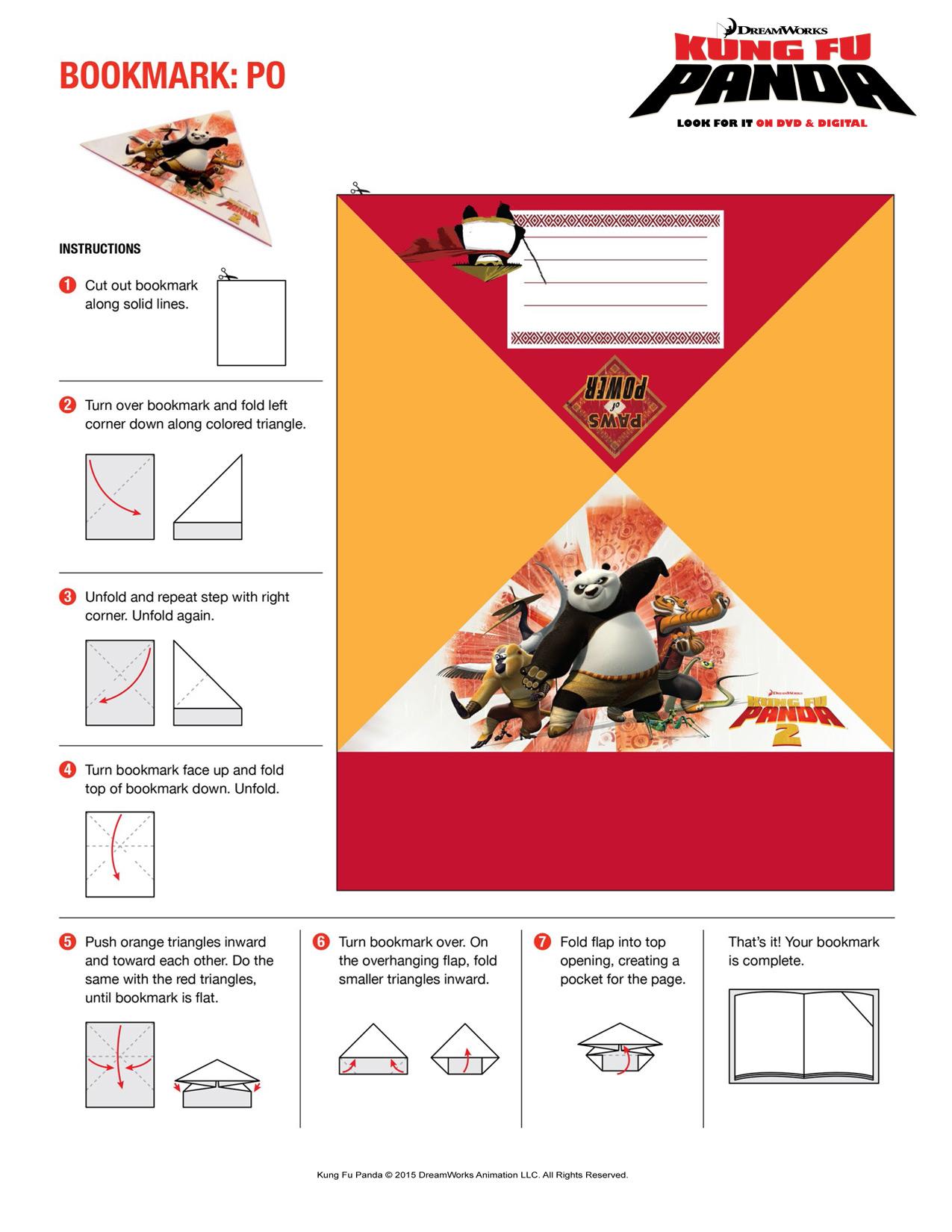Printable coloring pages kung fu panda 2 - Kung Fu Panda Activity Sheet Printable Bookmark