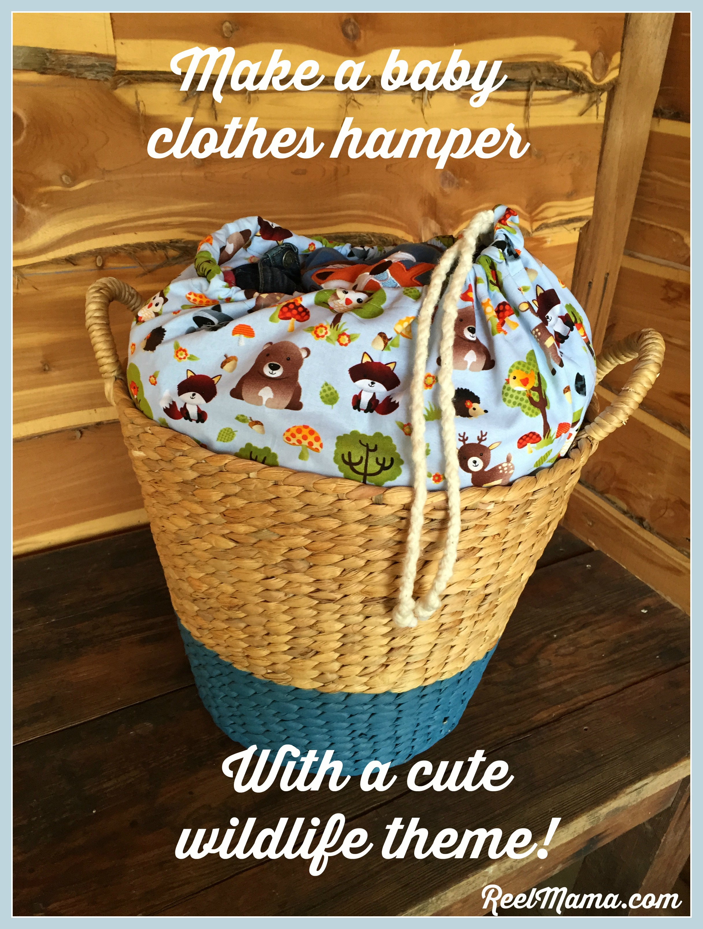 Cute baby clothes hamper with a wildlife theme diy baby clothes hamper with a wildlife theme diy tutorial solutioingenieria Gallery
