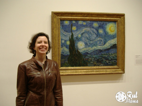 "Lauren Ivy Chiong with Vincent Van Gogh's ""Starry Night,"""