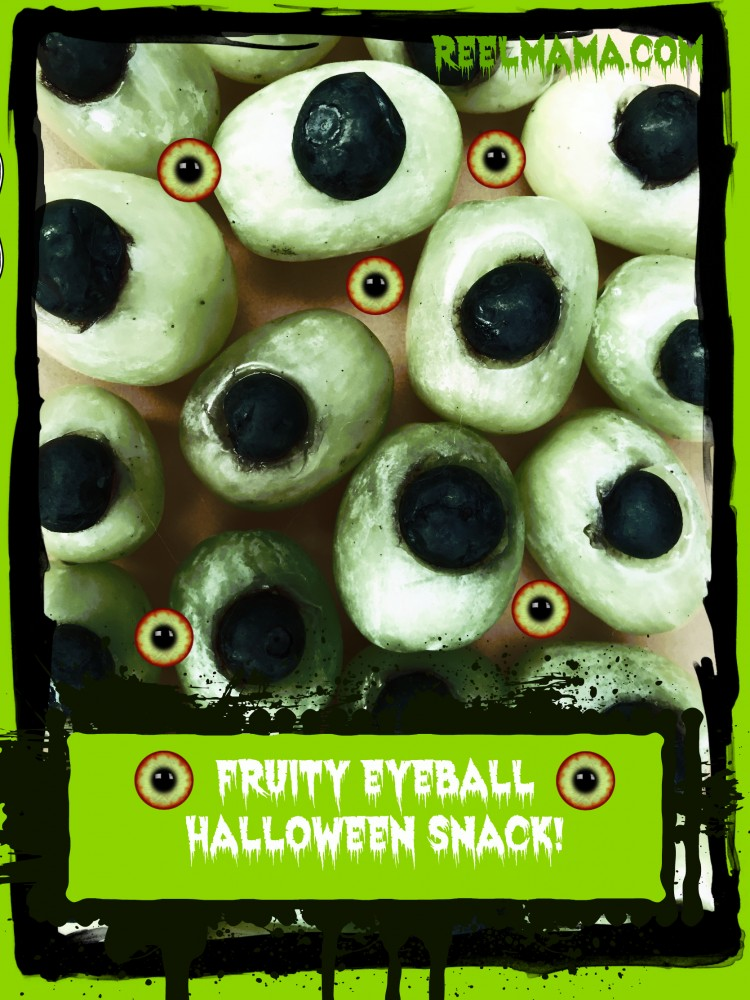 Fruity eyeball healthy Halloween snack made with grapes and blueberries