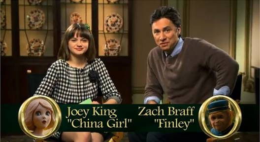 OZ THE GREAT AND POWERFUL Joey King and Zach Braff interview, China Girl, Finley, Zach Braff as Finley, Joey King as China Girl