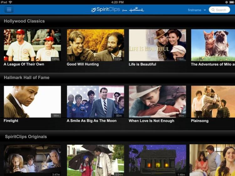 Hallmark SpiritClips streams family friendly films online.