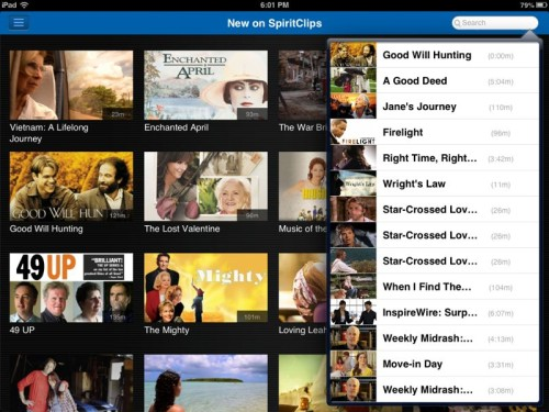 Hallmark SpiritClips search shows family films in a variety of genres